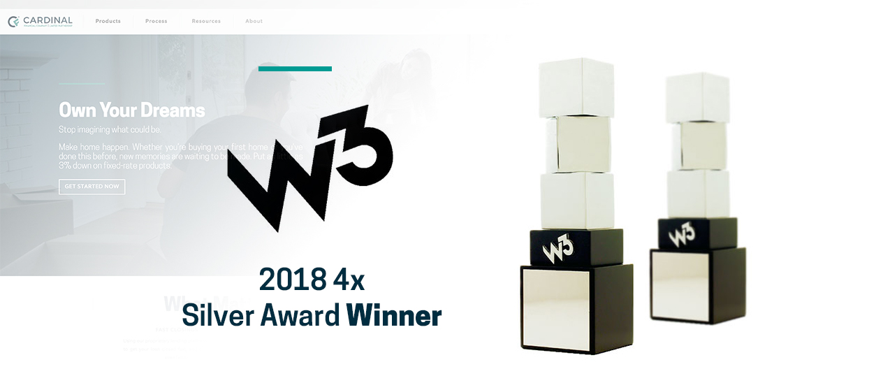 CardinalFinancial.com Wins Four W³ Silver Awards
